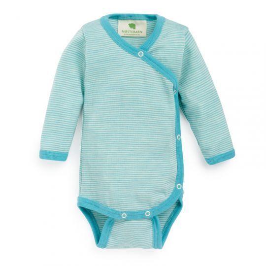 Prematurbody i ull med silke - Pastellblå/Natur