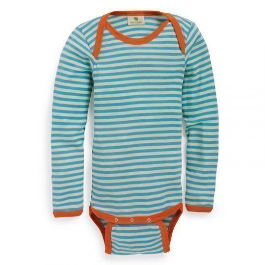 Body i ull med silke til større barn. - Pastellblå/Natur