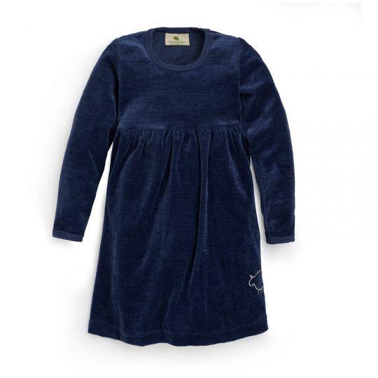 Velurkjole barn, i ull med silke - Marineblå