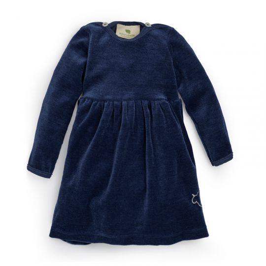 Velurkjole i ull med silke, baby - Marineblå