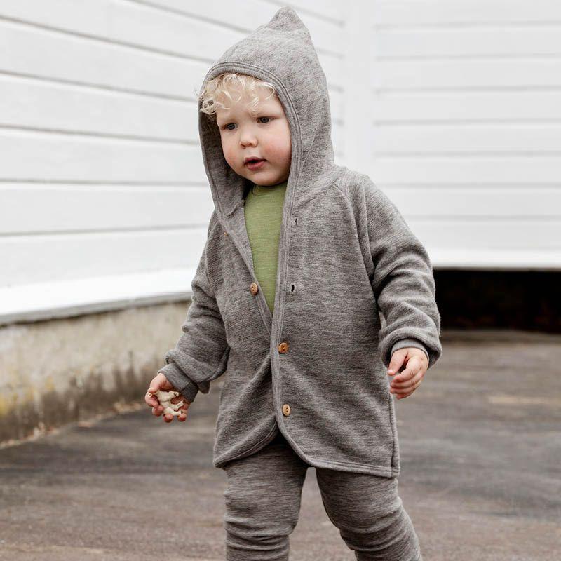 Hettejakke i ullfrotté Gråstein | Nøstebarn