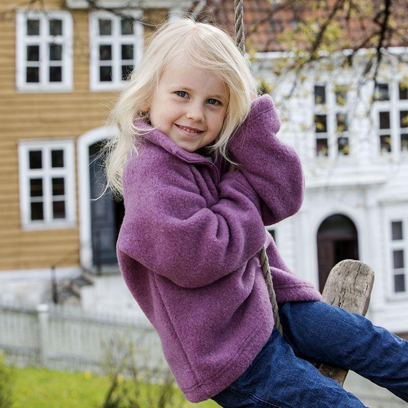 Jakke i ullfleece, glidlås Røsslyng